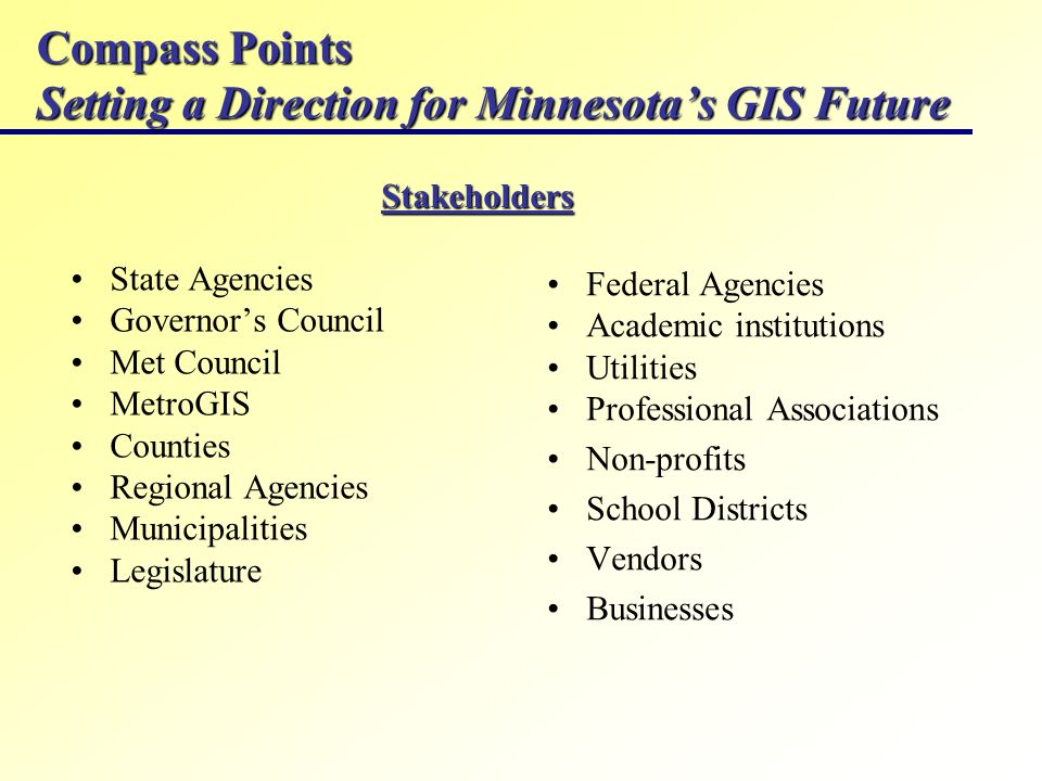 Compass Points Setting a Direction for Minnesotas GIS Future State Agencies Governors Council Met Council MetroGIS Counties Regional Agencies Municipalities Legislature Federal Agencies Academic institutions Utilities Professional Associations Non-profits School Districts Vendors Businesses Stakeholders