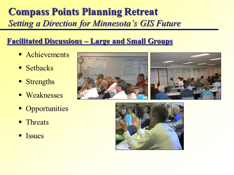 Compass Points Planning Retreat Setting a Direction for Minnesotas GIS Future Facilitated Discussions – Large and Small Groups Achievements Setbacks S