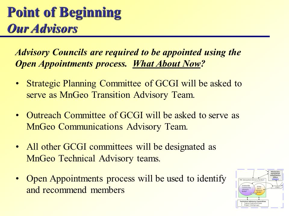 Point of Beginning Our Advisors Advisory Councils are required to be appointed using the Open Appointments process.