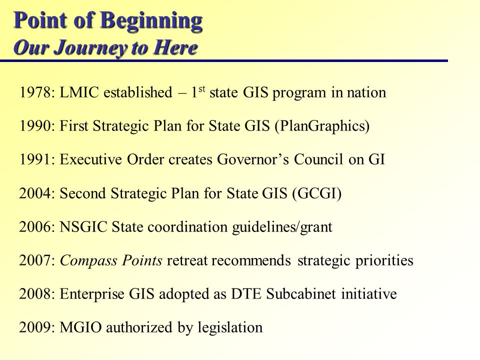 Point of Beginning Our Journey to Here 1978: LMIC established – 1 st state GIS program in nation 1990: First Strategic Plan for State GIS (PlanGraphic