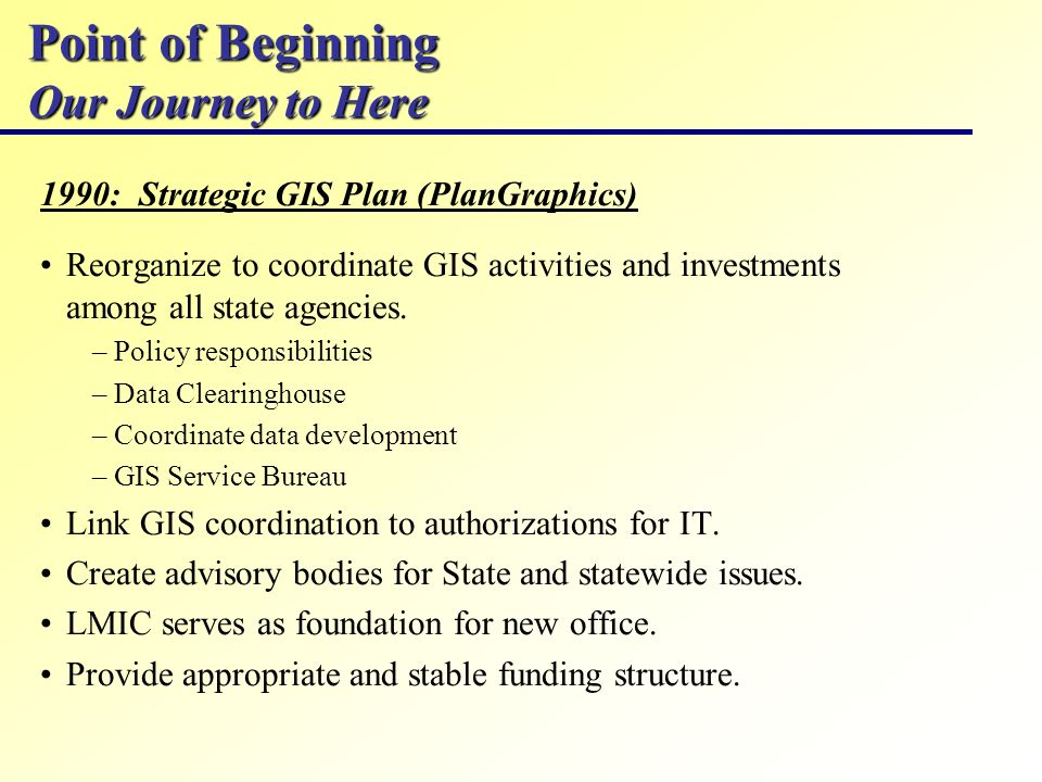 Point of Beginning Our Journey to Here 1990: Strategic GIS Plan (PlanGraphics) Reorganize to coordinate GIS activities and investments among all state agencies.