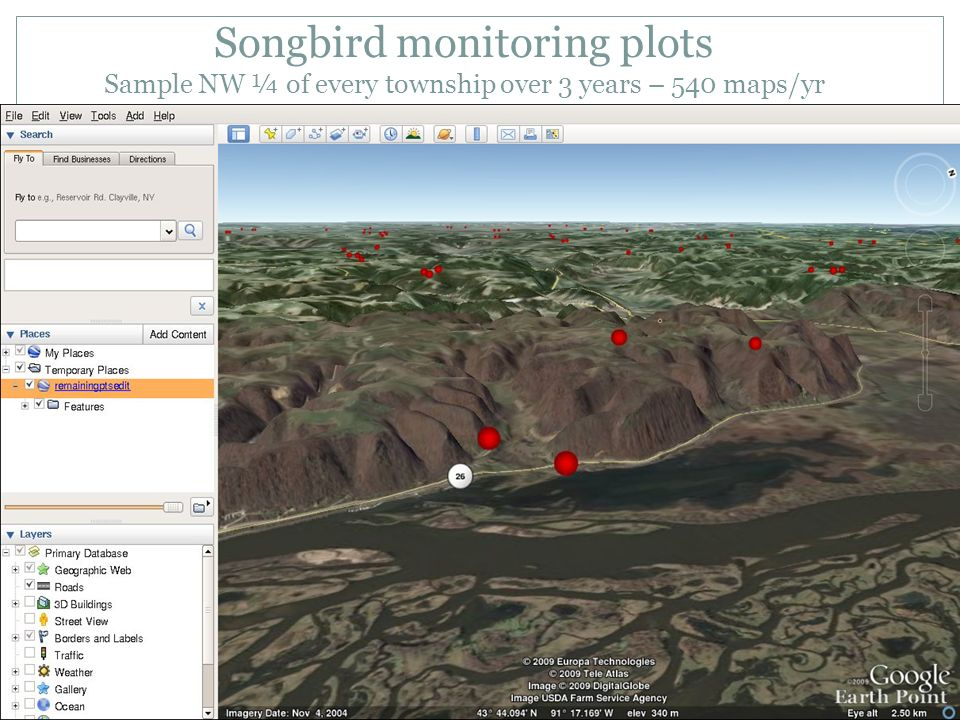 Songbird monitoring plots Sample NW ¼ of every township over 3 years – 540 maps/yr