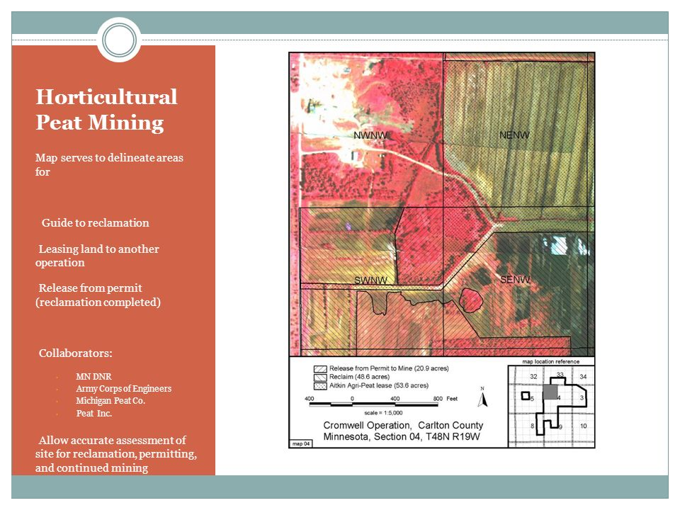 Horticultural Peat Mining Map serves to delineate areas for Guide to reclamation Leasing land to another operation Release from permit (reclamation co