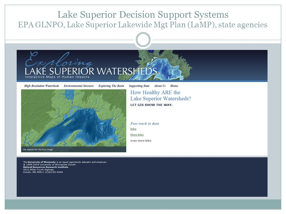 Lake Superior Decision Support Systems EPA GLNPO, Lake Superior Lakewide Mgt Plan (LaMP), state agencies