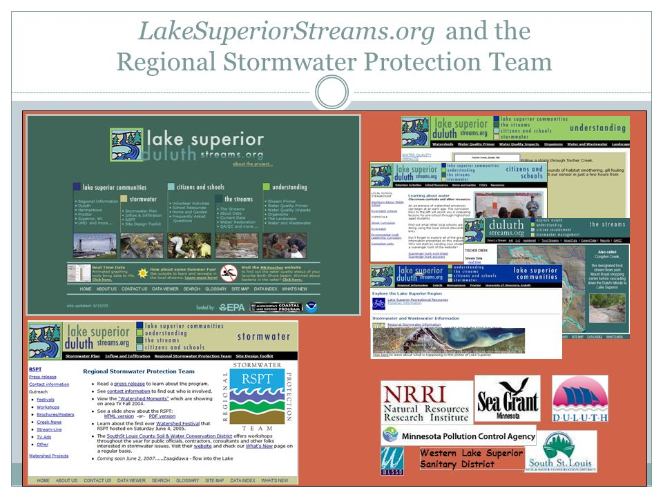 LakeSuperiorStreams.org and the Regional Stormwater Protection Team Western Lake Superior Sanitary District