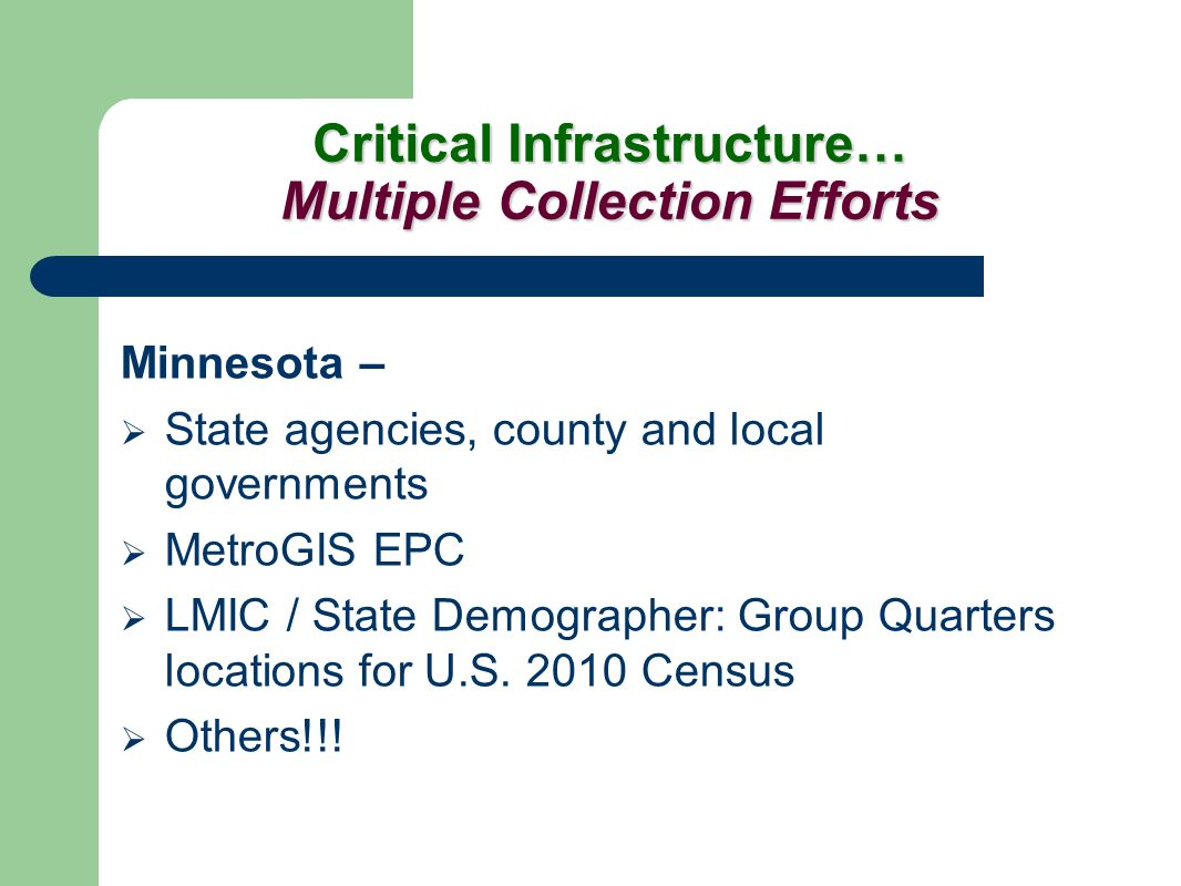 Critical Infrastructure… Multiple Collection Efforts Minnesota – State agencies, county and local governments MetroGIS EPC LMIC / State Demographer: Group Quarters locations for U.S.