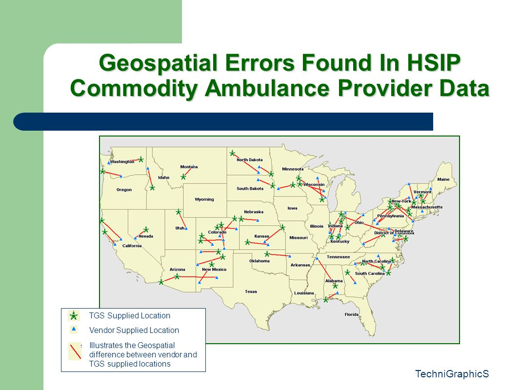 TechniGraphicS Geospatial Errors Found In HSIP Commodity Ambulance Provider Data TGS Supplied Location Vendor Supplied Location Illustrates the Geospatial difference between vendor and TGS supplied locations
