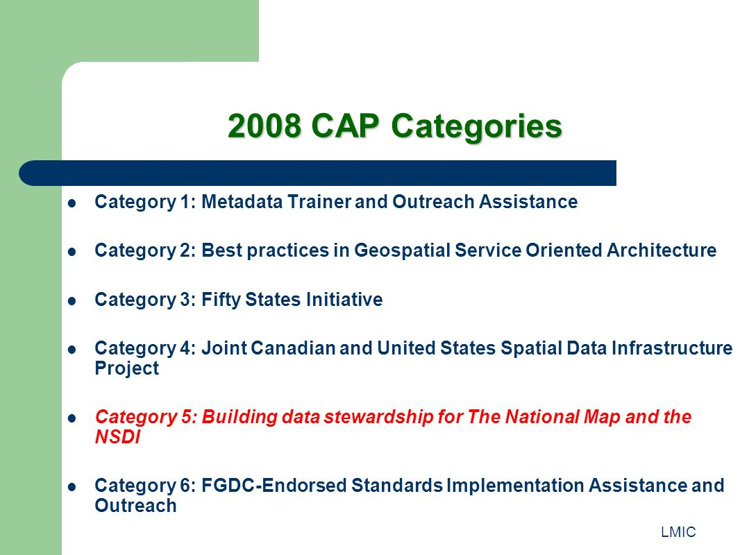 LMIC 2008 CAP Categories Category 1: Metadata Trainer and Outreach Assistance Category 2: Best practices in Geospatial Service Oriented Architecture C