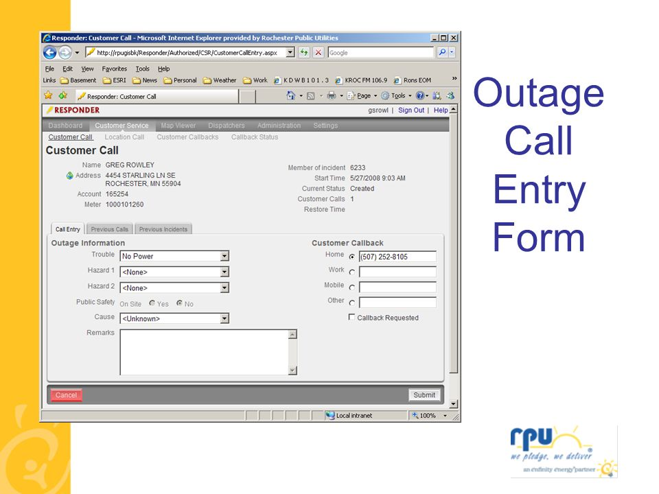 Outage Call Entry Form