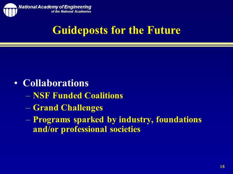 National Academy of Engineering of the National Academies 18 Guideposts for the Future Collaborations –NSF Funded Coalitions –Grand Challenges –Programs sparked by industry, foundations and/or professional societies