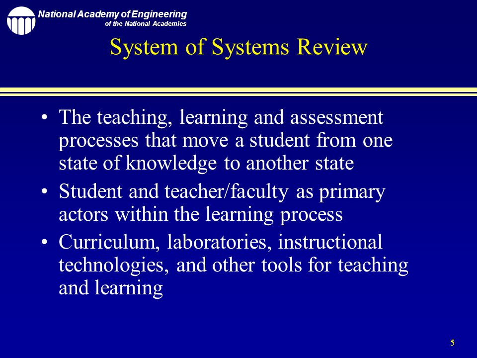 National Academy of Engineering of the National Academies 5 System of Systems Review The teaching, learning and assessment processes that move a student from one state of knowledge to another state Student and teacher/faculty as primary actors within the learning process Curriculum, laboratories, instructional technologies, and other tools for teaching and learning