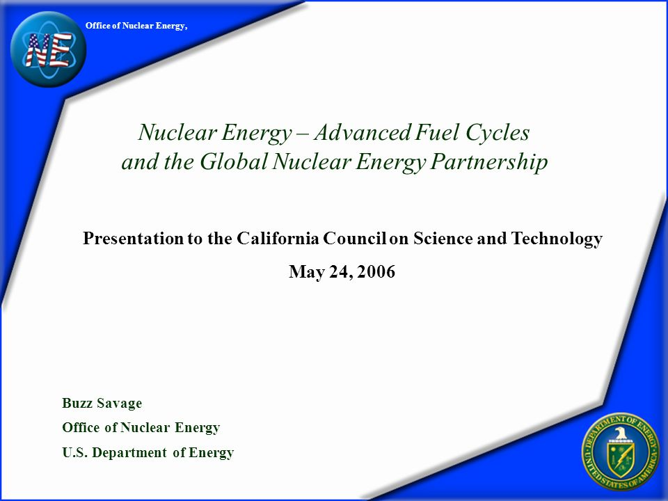 (2) DOEs Nuclear Energy R&D Programs Nuclear Power 2010 Generation IV Nuclear Energy Systems Next Generation Nuclear Plant Nuclear Hydrogen Initiative Global Nuclear Energy Partnership