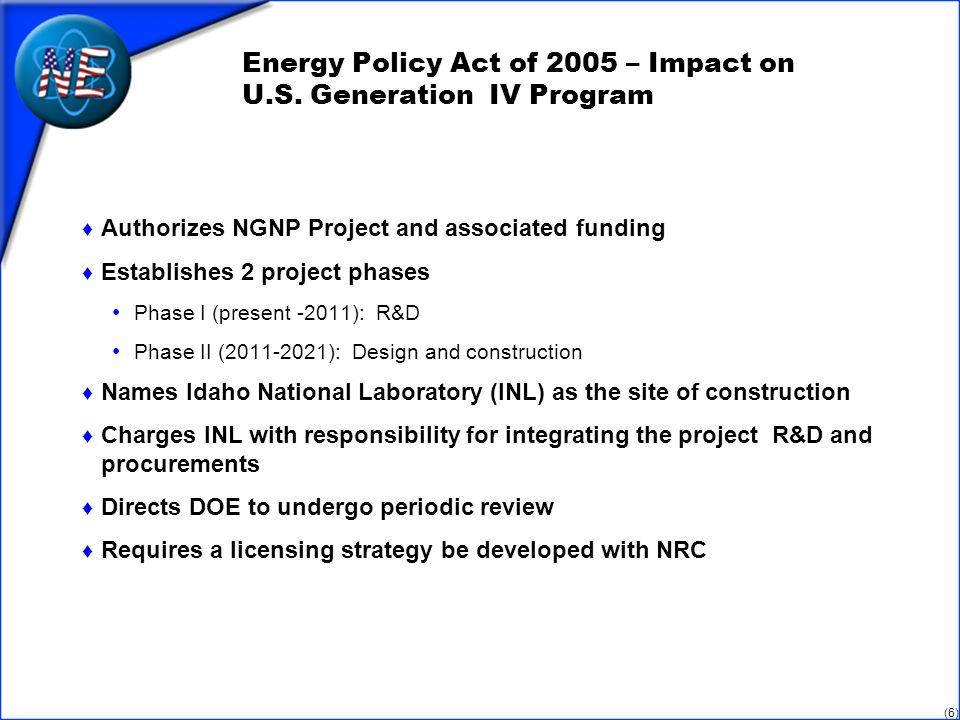 (6) Energy Policy Act of 2005 – Impact on U.S.