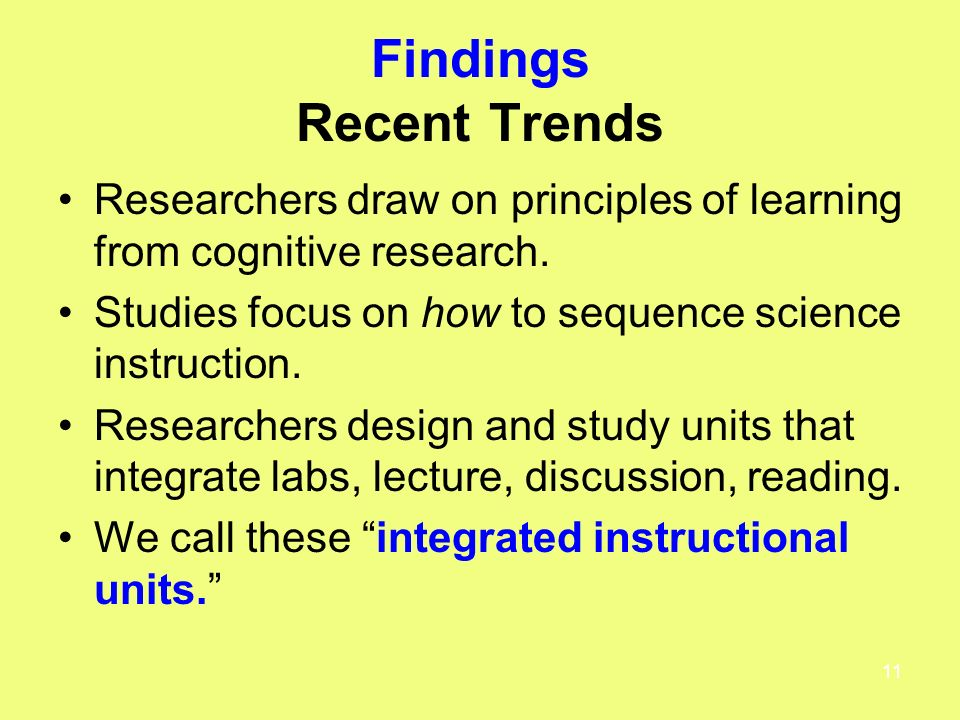 11 Findings Recent Trends Researchers draw on principles of learning from cognitive research.