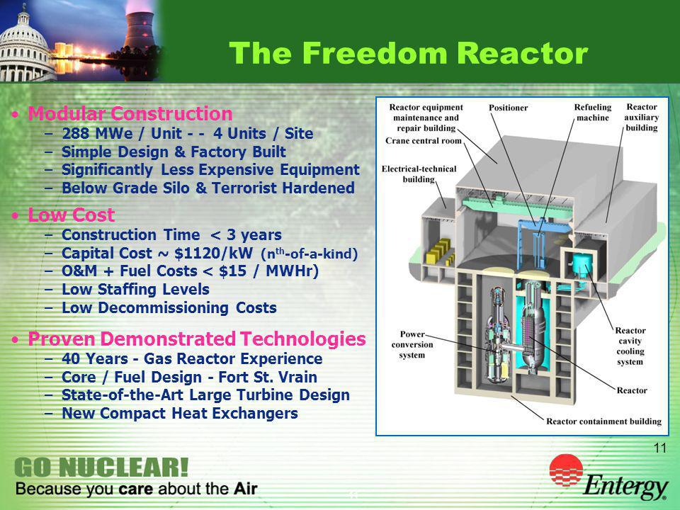 11 The Freedom Reactor Modular Construction –288 MWe / Unit - - 4 Units / Site –Simple Design & Factory Built –Significantly Less Expensive Equipment