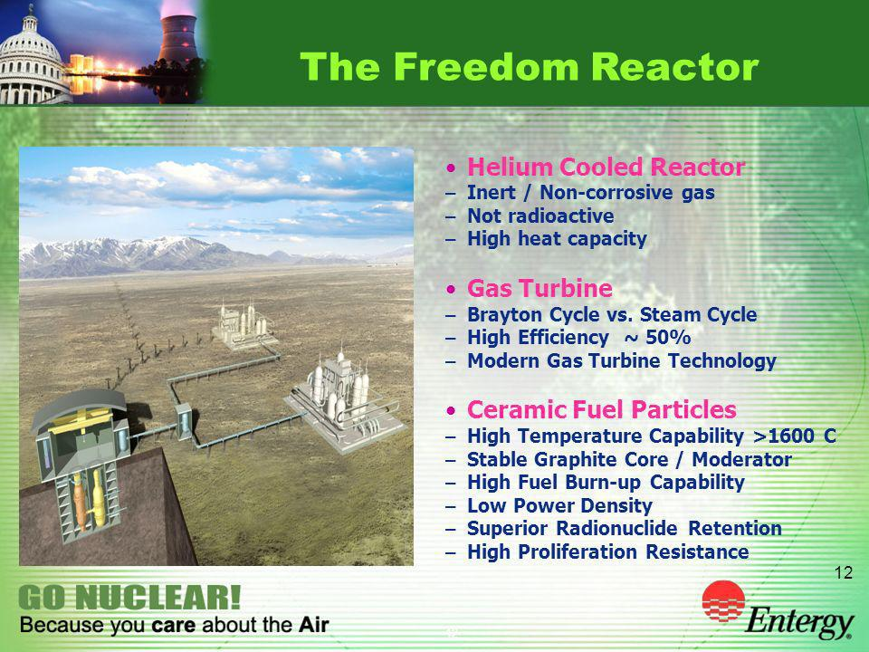 12 Helium Cooled Reactor – Inert / Non-corrosive gas – Not radioactive – High heat capacity Gas Turbine – Brayton Cycle vs. Steam Cycle – High Efficie