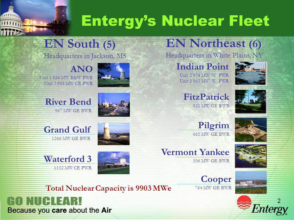 2 Entergys Nuclear Fleet ANO Unit 1 836 MW B&W PWR Unit 2 988 MW CE PWR River Bend 967 MW GE BWR Grand Gulf 1266 MW GE BWR Waterford 3 1152 MW CE PWR