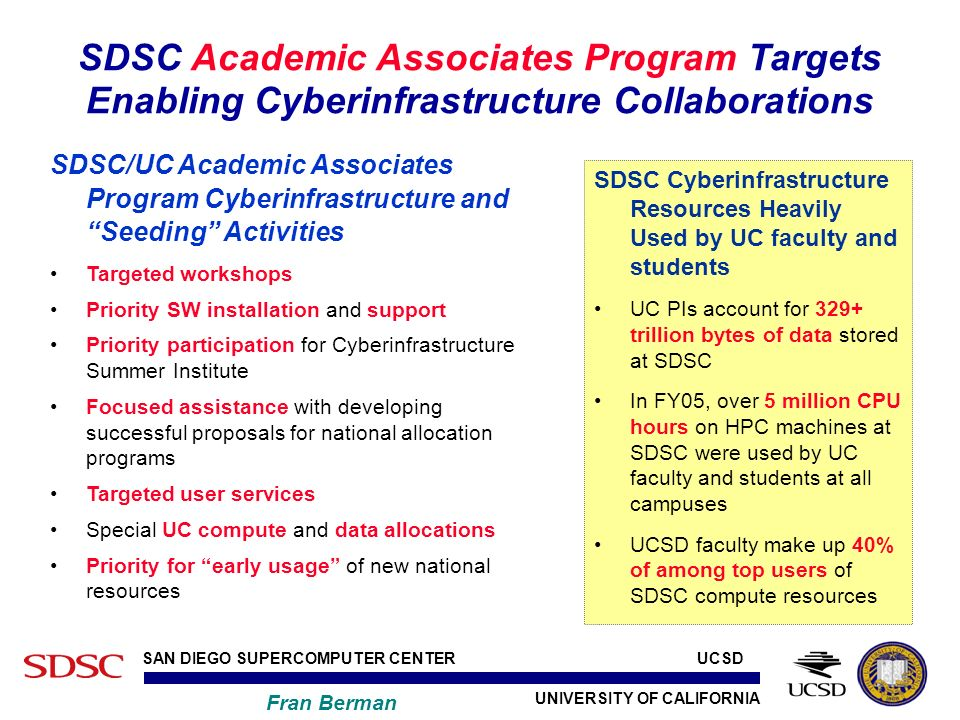 UNIVERSITY OF CALIFORNIA SAN DIEGO SUPERCOMPUTER CENTER Fran Berman UCSD SDSC Cyberinfrastructure Resources Heavily Used by UC faculty and students UC PIs account for 329+ trillion bytes of data stored at SDSC In FY05, over 5 million CPU hours on HPC machines at SDSC were used by UC faculty and students at all campuses UCSD faculty make up 40% of among top users of SDSC compute resources SDSC Academic Associates Program Targets Enabling Cyberinfrastructure Collaborations SDSC/UC Academic Associates Program Cyberinfrastructure and Seeding Activities Targeted workshops Priority SW installation and support Priority participation for Cyberinfrastructure Summer Institute Focused assistance with developing successful proposals for national allocation programs Targeted user services Special UC compute and data allocations Priority for early usage of new national resources