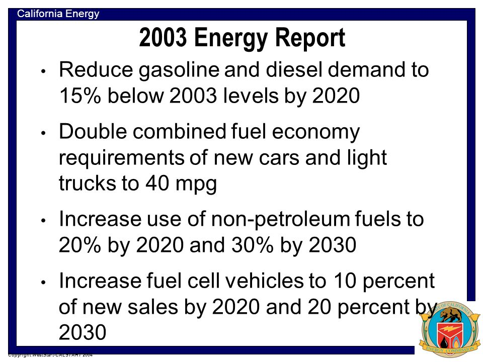 California Energy Commission Copyright WestStart-CALSTART 2004 2003 Energy Report Reduce gasoline and diesel demand to 15% below 2003 levels by 2020 Double combined fuel economy requirements of new cars and light trucks to 40 mpg Increase use of non-petroleum fuels to 20% by 2020 and 30% by 2030 Increase fuel cell vehicles to 10 percent of new sales by 2020 and 20 percent by 2030