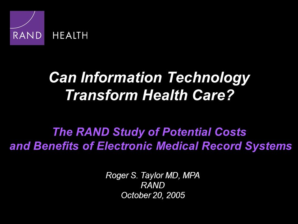 Can Information Technology Transform Health Care.