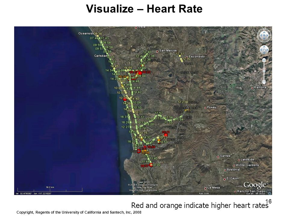 16 Visualize – Heart Rate Red and orange indicate higher heart rates Copyright, Regents of the University of California and Santech, Inc, 2008