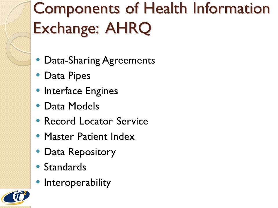 Components of Health Information Exchange: AHRQ Data-Sharing Agreements Data Pipes Interface Engines Data Models Record Locator Service Master Patient Index Data Repository Standards Interoperability