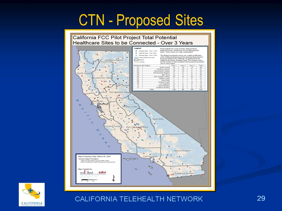 29 CALIFORNIA TELEHEALTH NETWORK CTN - Proposed Sites