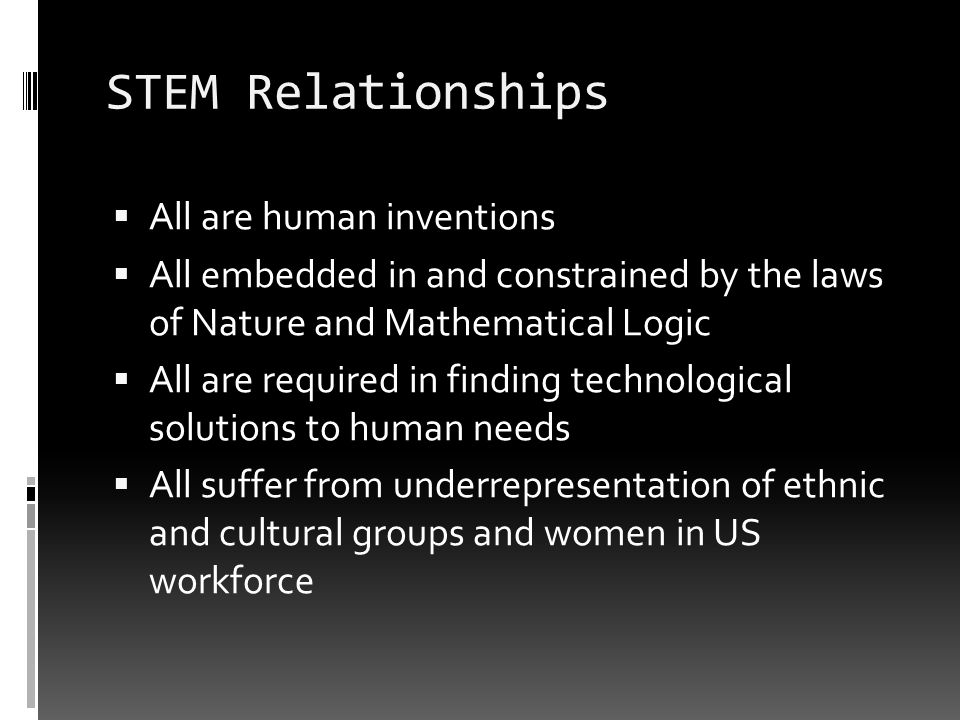 STEM Relationships All are human inventions All embedded in and constrained by the laws of Nature and Mathematical Logic All are required in finding technological solutions to human needs All suffer from underrepresentation of ethnic and cultural groups and women in US workforce