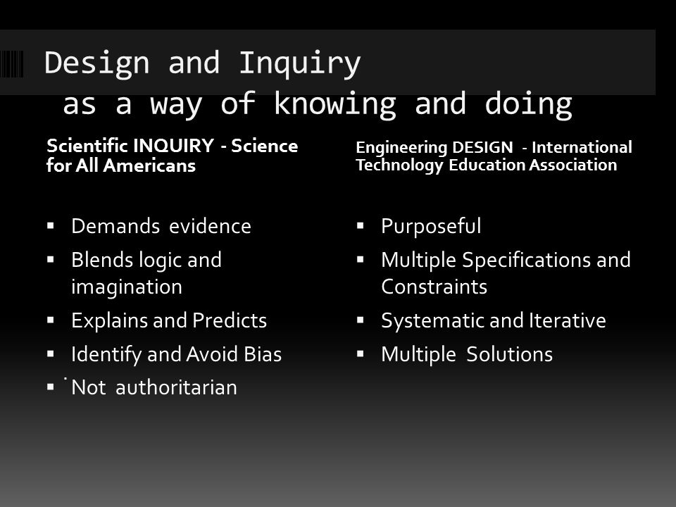 Design and Inquiry as a way of knowing and doing Scientific INQUIRY - Science for All Americans Engineering DESIGN - International Technology Education Association Demands evidence Blends logic and imagination Explains and Predicts Identify and Avoid Bias Not authoritarian Purposeful Multiple Specifications and Constraints Systematic and Iterative Multiple Solutions.
