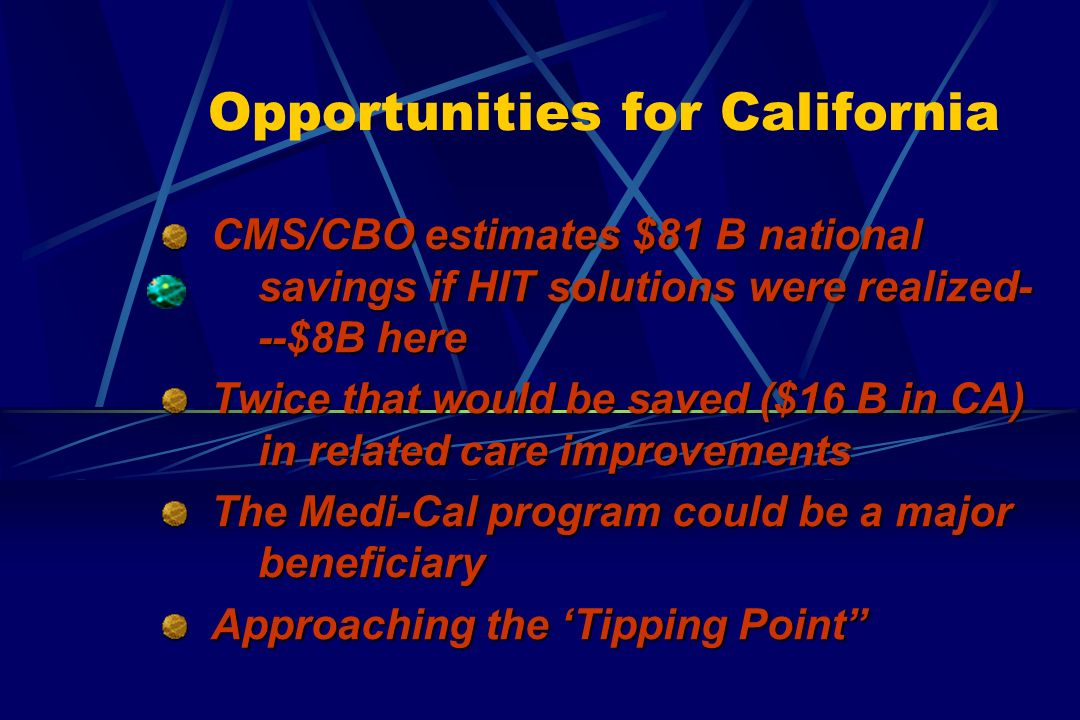 Opportunities for California CMS/CBO estimates $81 B national savings if HIT solutions were realized- --$8B here CMS/CBO estimates $81 B national savings if HIT solutions were realized- --$8B here Twice that would be saved ($16 B in CA) in related care improvements Twice that would be saved ($16 B in CA) in related care improvements The Medi-Cal program could be a major beneficiary The Medi-Cal program could be a major beneficiary Approaching the Tipping Point Approaching the Tipping Point