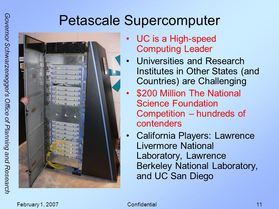 Governor Schwarzenegger s Office of Planning and Research February 1, 2007Confidential11 Petascale Supercomputer UC is a High-speed Computing Leader Universities and Research Institutes in Other States (and Countries) are Challenging $200 Million The National Science Foundation Competition – hundreds of contenders California Players: Lawrence Livermore National Laboratory, Lawrence Berkeley National Laboratory, and UC San Diego