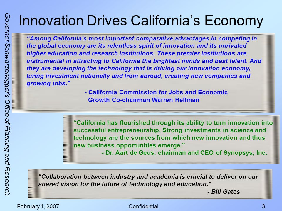 Governor Schwarzenegger s Office of Planning and Research February 1, 2007Confidential3 Innovation Drives Californias Economy Collaboration between industry and academia is crucial to deliver on our shared vision for the future of technology and education. - Bill Gates California has flourished through its ability to turn innovation into successful entrepreneurship.
