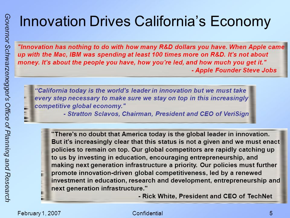Governor Schwarzenegger's Office of Planning and Research February 1, 2007Confidential5 Innovation Drives Californias Economy