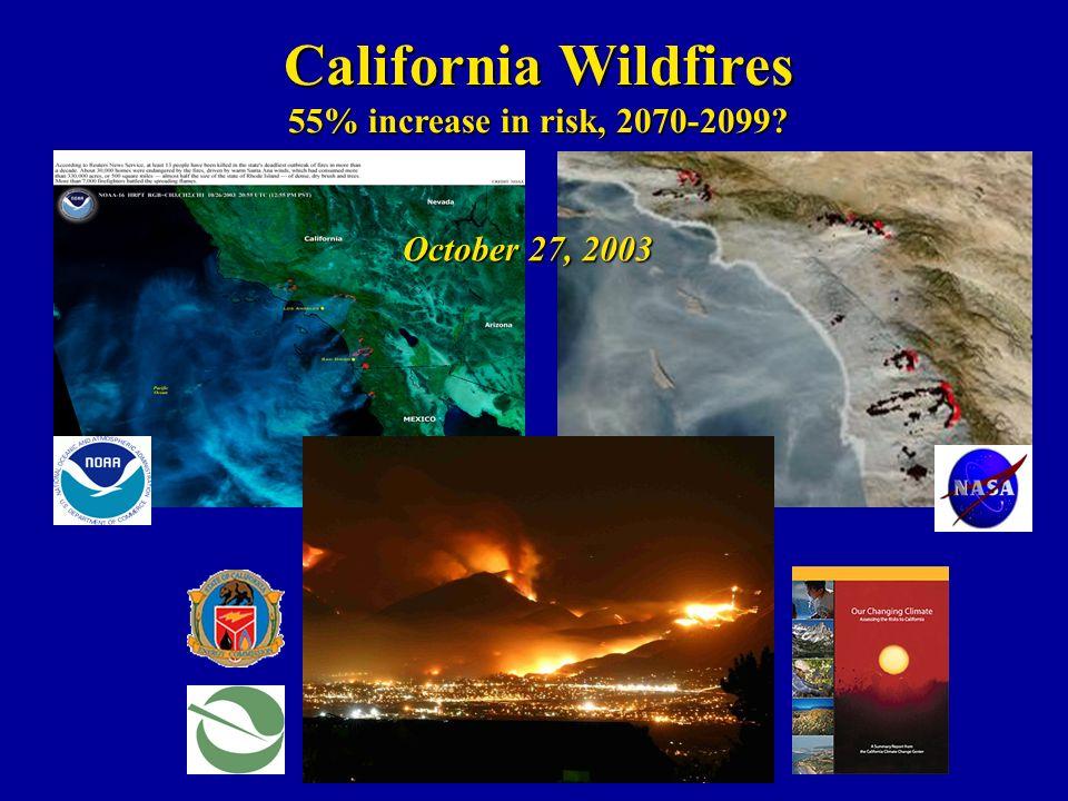 California Wildfires 55% increase in risk, 2070-2099 October 27, 2003