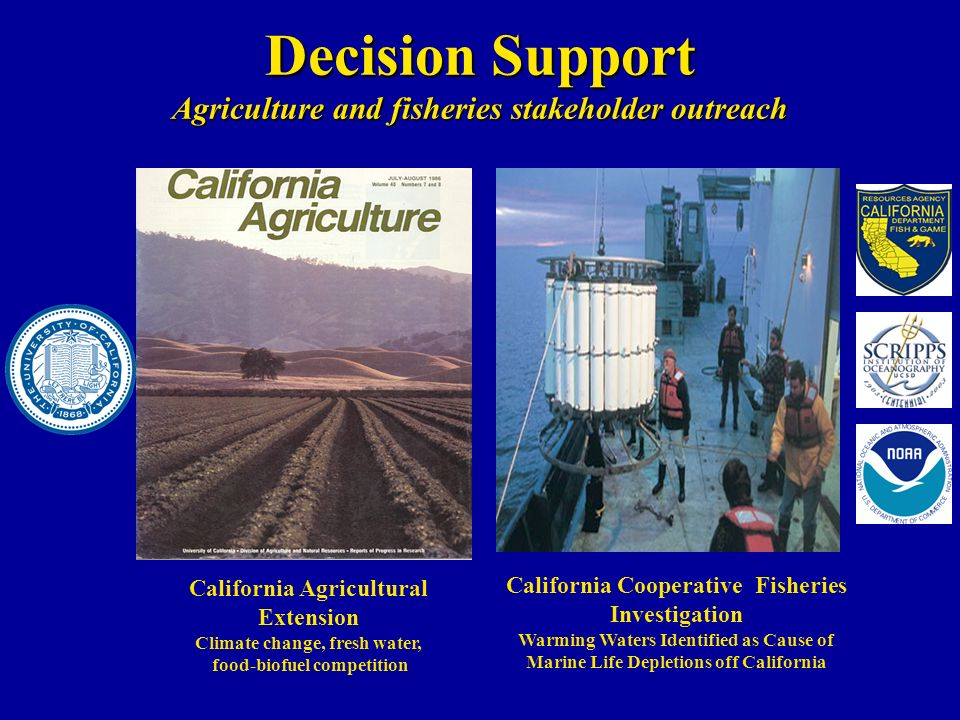 Decision Support Agriculture and fisheries stakeholder outreach California Agricultural Extension Climate change, fresh water, food-biofuel competition California Cooperative Fisheries Investigation Warming Waters Identified as Cause of Marine Life Depletions off California