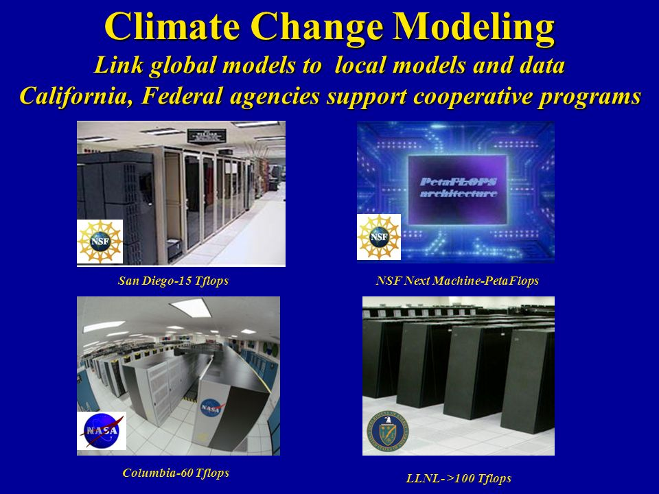 Climate Change Modeling Link global models to local models and data California, Federal agencies support cooperative programs San Diego-15 Tflops Columbia-60 Tflops NSF Next Machine-PetaFlops LLNL- >100 Tflops