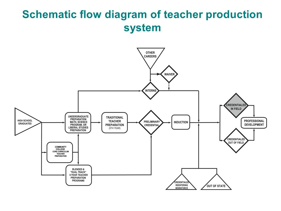 Schematic flow diagram of teacher production system