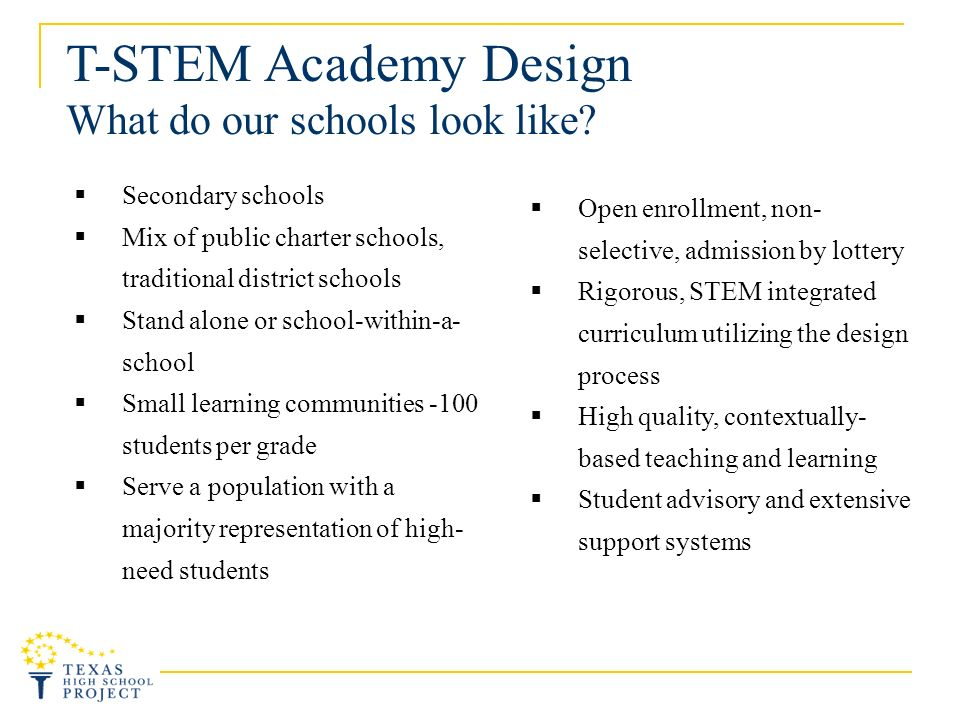 T-STEM Academy Design What do our schools look like.