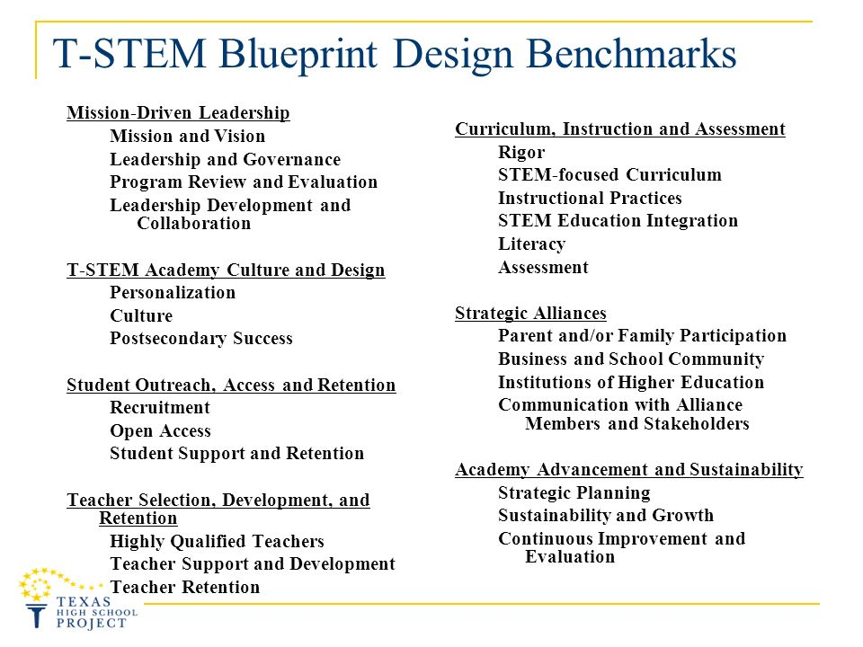 T-STEM Blueprint Design Benchmarks Mission-Driven Leadership Mission and Vision Leadership and Governance Program Review and Evaluation Leadership Development and Collaboration T-STEM Academy Culture and Design Personalization Culture Postsecondary Success Student Outreach, Access and Retention Recruitment Open Access Student Support and Retention Teacher Selection, Development, and Retention Highly Qualified Teachers Teacher Support and Development Teacher Retention Curriculum, Instruction and Assessment Rigor STEM-focused Curriculum Instructional Practices STEM Education Integration Literacy Assessment Strategic Alliances Parent and/or Family Participation Business and School Community Institutions of Higher Education Communication with Alliance Members and Stakeholders Academy Advancement and Sustainability Strategic Planning Sustainability and Growth Continuous Improvement and Evaluation