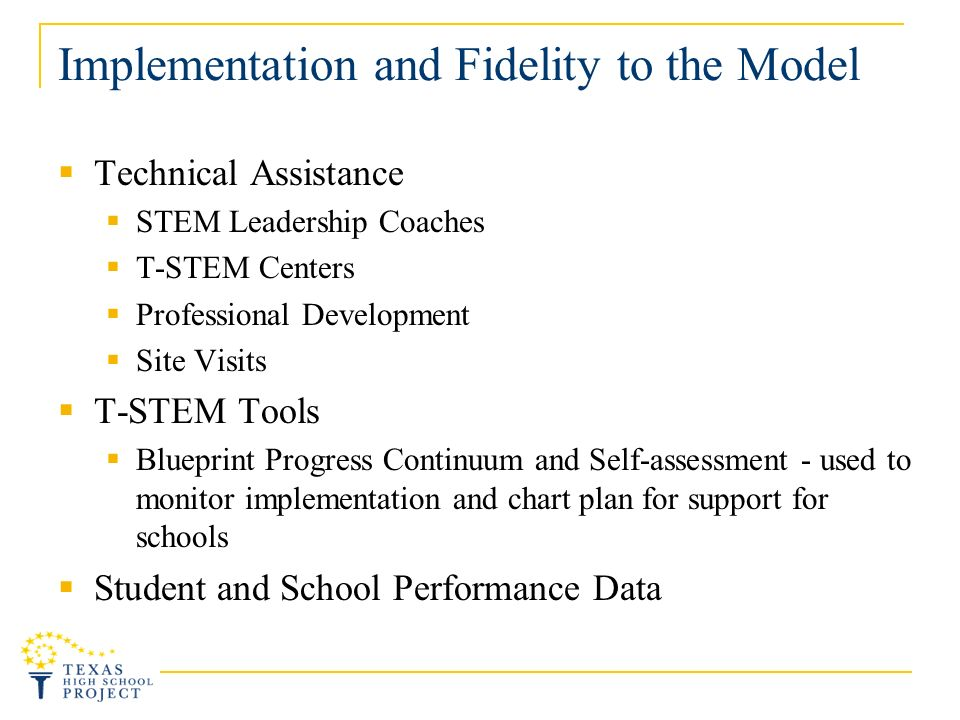 Implementation and Fidelity to the Model Technical Assistance STEM Leadership Coaches T-STEM Centers Professional Development Site Visits T-STEM Tools Blueprint Progress Continuum and Self-assessment - used to monitor implementation and chart plan for support for schools Student and School Performance Data