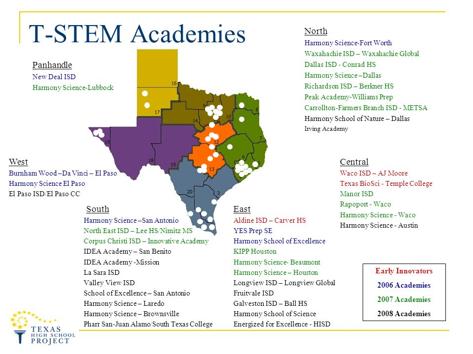 T-STEM Academies Panhandle New Deal ISD Harmony Science-Lubbock West Burnham Wood –Da Vinci – El Paso Harmony Science El Paso El Paso ISD/El Paso CC East Aldine ISD – Carver HS YES Prep SE Harmony School of Excellence KIPP Houston Harmony Science- Beaumont Harmony Science – Houston Longview ISD – Longview Global Fruitvale ISD Galveston ISD – Ball HS Harmony School of Science Energized for Excellence - HISD Central Waco ISD – AJ Moore Texas BioSci - Temple College Manor ISD Rapoport - Waco Harmony Science - Waco Harmony Science - Austin North Harmony Science-Fort Worth Waxahachie ISD – Waxahachie Global Dallas ISD - Conrad HS Harmony Science –Dallas Richardson ISD – Berkner HS Peak Academy-Williams Prep Carrollton-Farmers Branch ISD - METSA Harmony School of Nature – Dallas Irving Academy Early Innovators 2006 Academies 2007 Academies 2008 Academies South Harmony Science –San Antonio North East ISD – Lee HS/Nimitz MS Corpus Christi ISD – Innovative Academy IDEA Academy – San Benito IDEA Academy -Mission La Sara ISD Valley View ISD School of Excellence – San Antonio Harmony Science – Laredo Harmony Science – Brownsville Pharr San-Juan Alamo/South Texas College