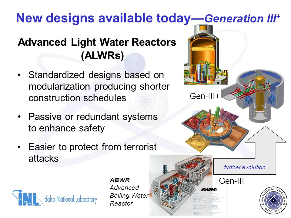 Advanced Light Water Reactors (ALWRs) Standardized designs based on modularization producing shorter construction schedules Passive or redundant systems to enhance safety Easier to protect from terrorist attacks New designs available today Generation III + Gen-III Gen-III+ ABWR Advanced Boiling Water Reactor further evolution