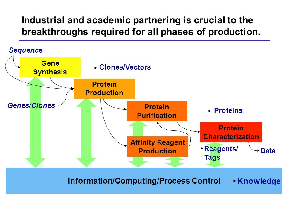 Industrial and academic partnering is crucial to the breakthroughs required for all phases of production. Information/Computing/Process Control Genes/