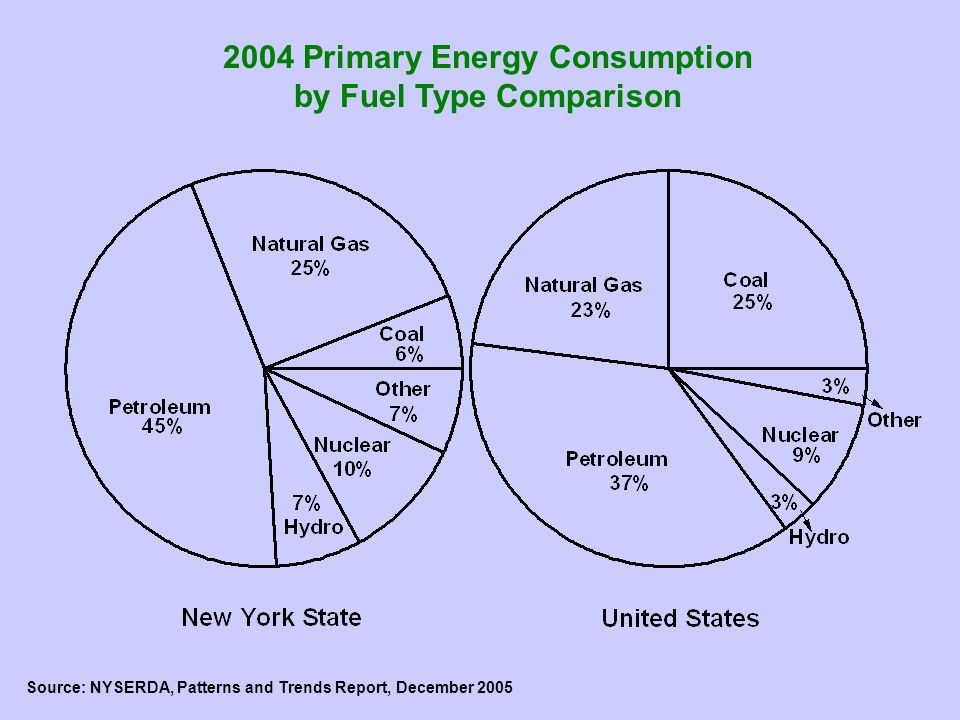 2004 Primary Energy Consumption by Fuel Type Comparison Source: NYSERDA, Patterns and Trends Report, December 2005