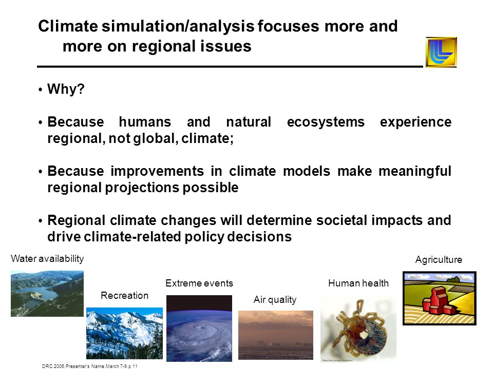 DRC 2006.Presenters Name.March 7-9.p 11 Climate simulation/analysis focuses more and more on regional issues Why? Because humans and natural ecosystem