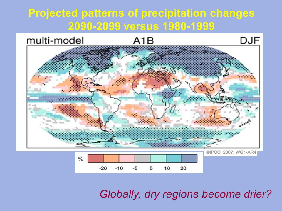 Projected patterns of precipitation changes 2090-2099 versus 1980-1999 Globally, dry regions become drier?