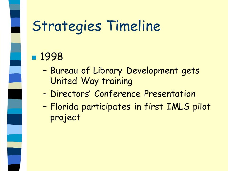 Strategies Timeline n 1998 –Bureau of Library Development gets United Way training –Directors Conference Presentation –Florida participates in first IMLS pilot project