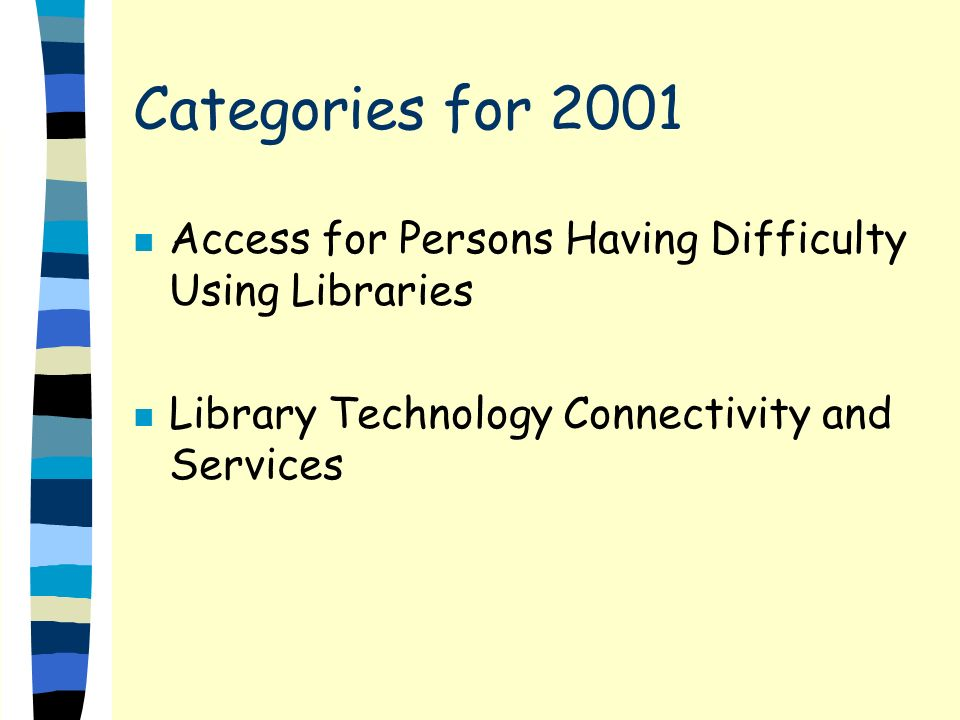Categories for 2001 n Access for Persons Having Difficulty Using Libraries n Library Technology Connectivity and Services