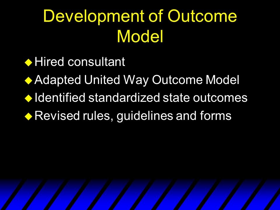 Development of Outcome Model u Hired consultant u Adapted United Way Outcome Model u Identified standardized state outcomes u Revised rules, guidelines and forms