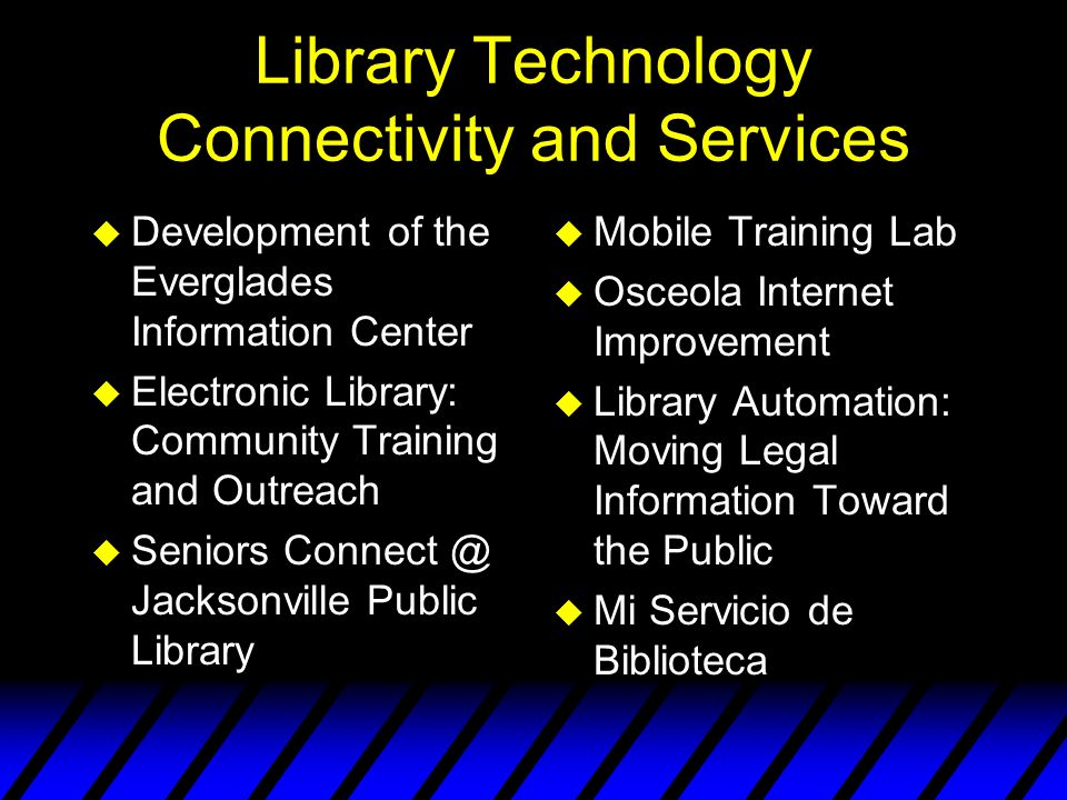 Library Technology Connectivity and Services u Development of the Everglades Information Center u Electronic Library: Community Training and Outreach u Seniors Connect @ Jacksonville Public Library u Mobile Training Lab u Osceola Internet Improvement u Library Automation: Moving Legal Information Toward the Public u Mi Servicio de Biblioteca